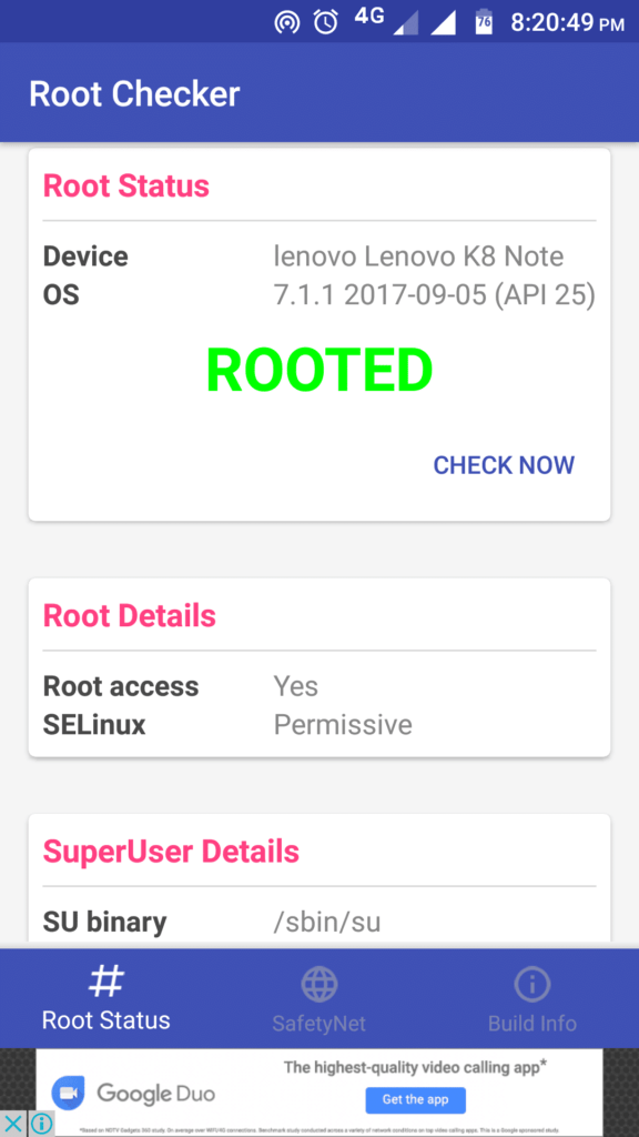 Rooted Lenovo K8 note